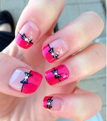 Stylish-and-Cute-Nail-Designs-with-Bows-and-Diamonds-for-Girls-17