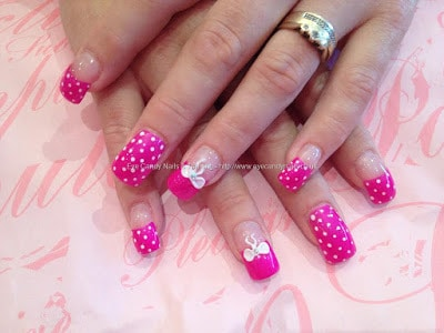 Stylish-and-Cute-Nail-Designs-with-Bows-and-Diamonds-for-Girls-4