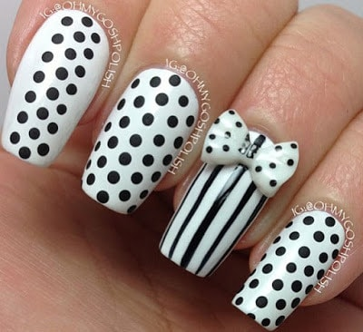 Stylish-and-Cute-Nail-Designs-with-Bows-and-Diamonds-for-Girls-6