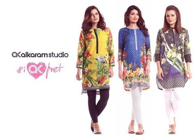 Alkaram digital printed kurta designs Collection 2018 for girls