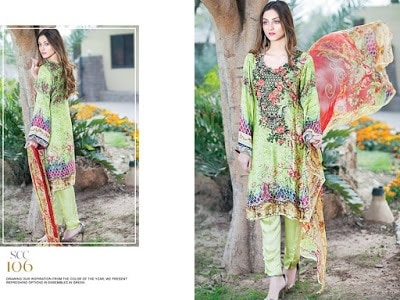 Shaista floral beautiful embroidered silk dresses for women