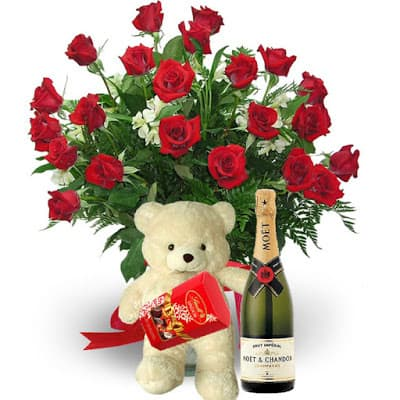 valentine's day flowers arrangements bouquet with teddy bear