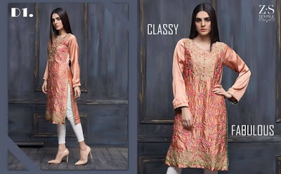 Areeba Saleem kurti collection 2017 for girls by zs textiles
