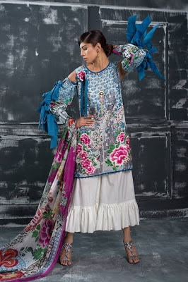 Latest designer lawn unstitch Collection 2018 for women