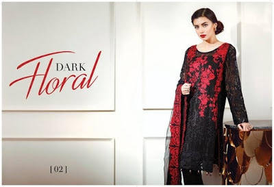 Luxury dark horal chiffon dresses by Baroque