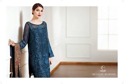 Metalic seaweed elegantly luxury designed chiffon outfit