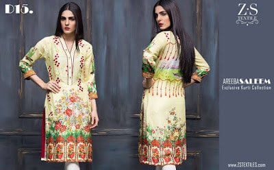 Stylish kurti lawn collection 2017 by ZS Textiles
