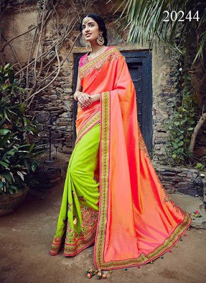 Green and Orange Tussar Silk Stylish Wedding Saree