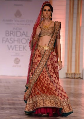 Indian lehenga style saree for bridal