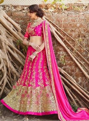 attractive-pink-designer-bridal-lengha-choli-in-net
