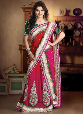 Shoking-pink-fancy-lehenga-style-sarees