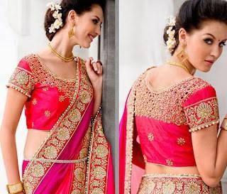 shaded-pink-unique-border-work-satin-chiffon-wedding-saree-with-blouse