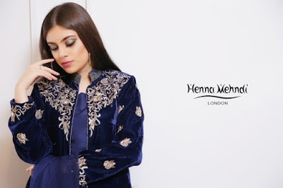 Blue Diamante Embroidered Velvet Jacket Outfit