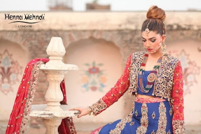 Navy and Red Diamante Embroidered Bridal Lehnga