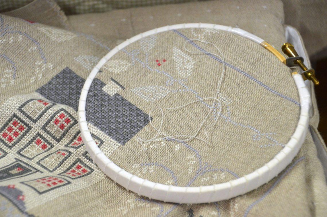 Cross-stitch on frame