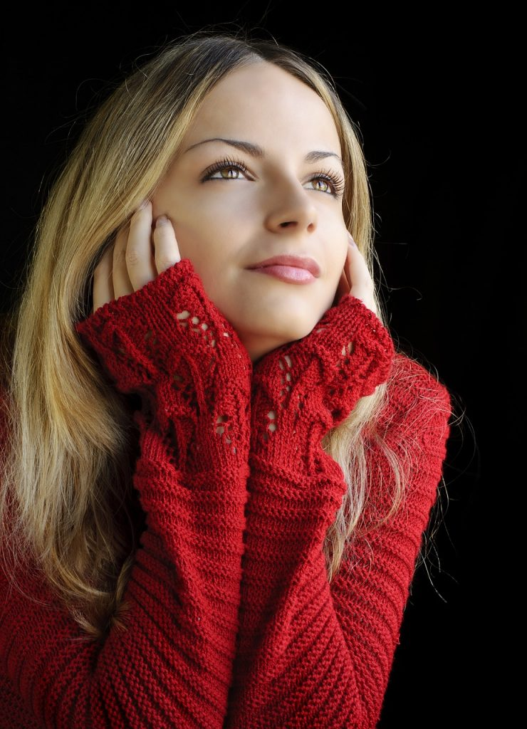 Red chunky sweater