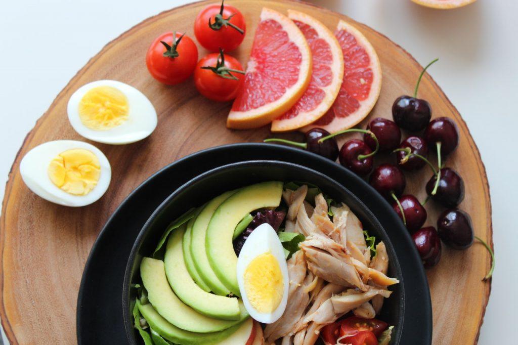 Healthy salad and fruits